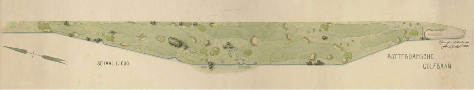 Tekening van de Rotterdamsche Golfbaan 1933